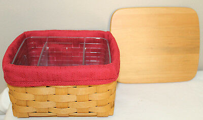 2004 Longaberger Card File  Basket, Lid, Paprika Fabric, Protector With Dividers