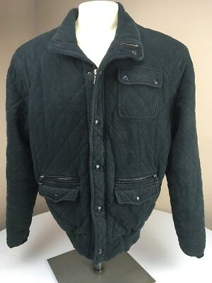 Vtg Polo Ralph Lauren Diamond Quilted Bomber Jacket Cotton Leather