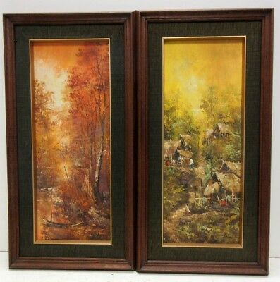 Lot Of (2) Vintage Scenes Mid Century Modern Landscapes In Frames Signed Pakom