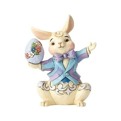 Jim Shore Heartwood Creek Mini Bunny with Egg Easter Rabbit in coat NEW 6001080