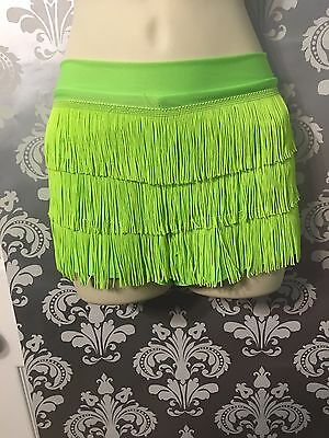 EUC ELECTRIC NEON GREEN FLAPPER Festive Shorts W/ Tassels CLUB, exotic,SZ Small