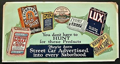1920s Trolley Streetcar Card Advertising Sign Various Laundry Soap Inc Gold Dust