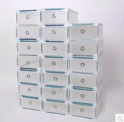 20pk Transparent plastic shoe box drawer sturdy metal edge stackable storage
