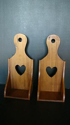 Pair Of Handcrafted Wood Candle / Display Shelves