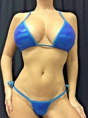 Stripper/exotic Dancer New Turquoise/purple Reflective Thong Bikini C/d Top