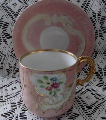 1800s Ornate Antique Victorian Cup Saucer Set~Hand Painted Flowers Gold Scrolls