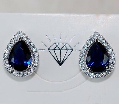 4CT Blue Sapphire & Topaz 925 Solid Genuine Sterling Silver Earrings Jewelry