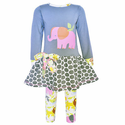 AnnLoren Baby Girls 12-18mo Boutique Elephant Jungle Animals Dress and Leggings