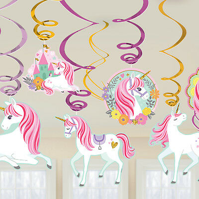 Unicorn Party Decorations Swirls x 12 Magical Girls Party Supplies