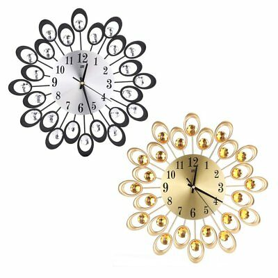 European Style Wrought-iron Wall Clock Diamate Quartz Silent Home Decor 37cm &@