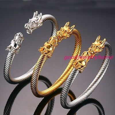 Stainless Steel Silver Gold Dragon Wire Cuff Bangle Mens Womens Bracelet Jewelry