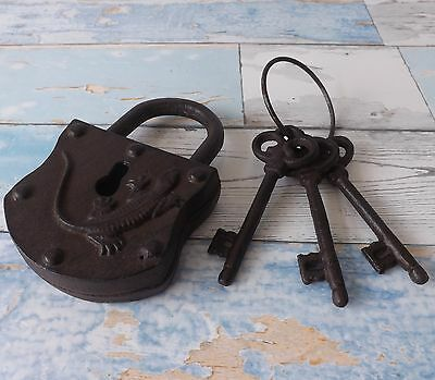 Rustic Vintage Style Large Working Cast Iron Padlock & 3 Keys Home Garden Decor