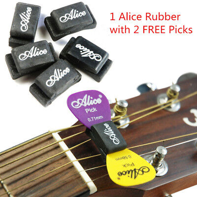 Practical Alice Rubber with 2 FREE Picks HeadStock 0.81mm Guitar Pick Holder