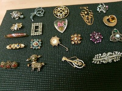 Job Lot 20 Antique Vintage Brooches Named Pieces Agate Micro Mosaic