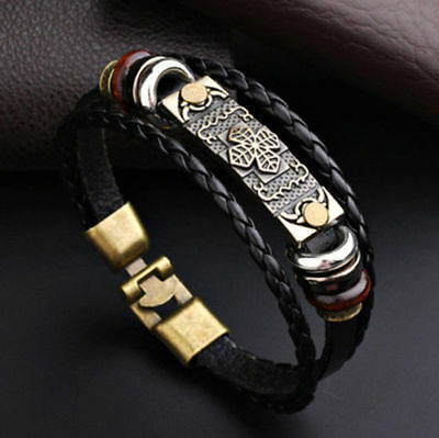 Multi Layer Vintage Leaf Pattern Mens Dads Leather Bracelet Rock WristBand Black