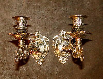 Antique Wall Mounted Candle Holder,Wall Light, Piano, Burnished Brass, Baroque