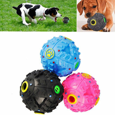 Pet Dog Tough Treat Training Chew Sound Activity Toy Squeaky Giggle Ball Fetch