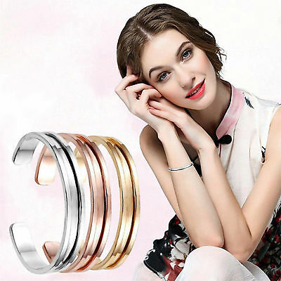 Women lady Cuff Bangle Stainless Steel Hair Tie Bracelet Band Elegant Indent