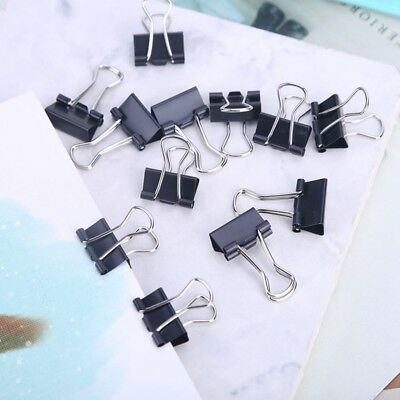 12 Pcs Mini Black Alloy Binder Clips File Paper Clip School Office Supplies Gift