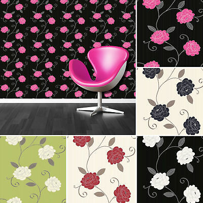 Puccini Floral Trail Flower Wallpaper Metallic Luxury Range Of 5 Colours Debona
