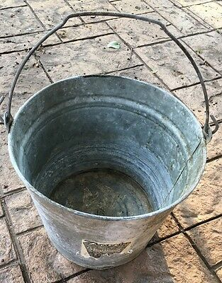 "Antique Vintage Galvanized Metal Bucket Farm Barn Original Label! 10"" At Opening"