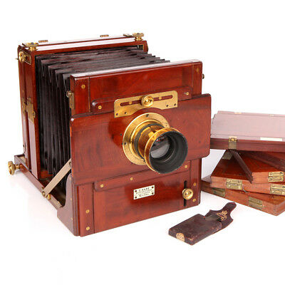 A Single Lens Stereo Halfplate Brass & Mahogany Camera Outfit By George Hare
