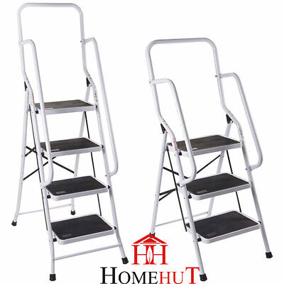 Foldable Non Slip 3 & 4 Step Steel Ladder tread Stepladder Safety Handrail Rail