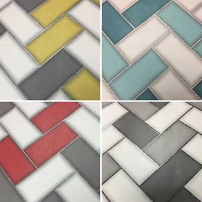 Holden Decor 3D Chevron Tile Wallpaper Vinyl Glitter Sparkly 4 Colours Available