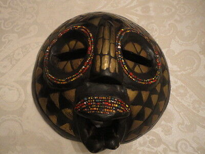 Authentic ~ African Ghanian Metal and Bead Inlay Wooden Mask - 8.5""