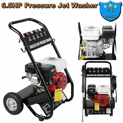 3000PSI 6.5HP Petrol Power Pressure Jet Washer Engine W/ Gun Hook Hose Wheel New