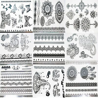 Black Tattoo Henna Lace Body Art Water Transfer Temporary 16 Design Sheet NEW