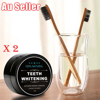 AU Activated Charcoal Teeth Whitening Organic Powder Carbon Coco with Toothbrush