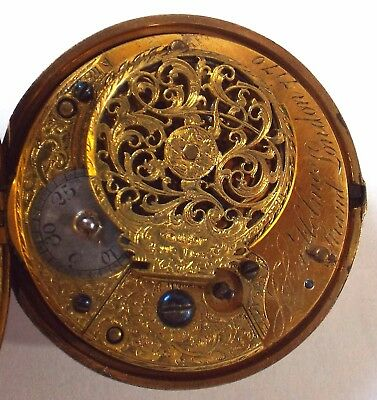 Rare Silver Gilt Pair Case Watch Verge Fusee By John Holmes Strand London C1814