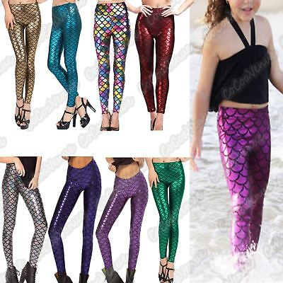 New Girls Fish Scale Mermaid Print Shiny Skinny Disco Metallic Leggings Trousers