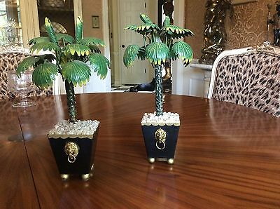 Vtg Pair Petite Choses Tole Metal Palm Trees In French Style Pots