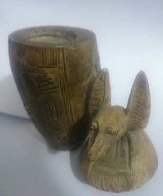 Rare Antique Ancient Egyptian Funeral Anubis canopic jar 1376 - 1346 BC