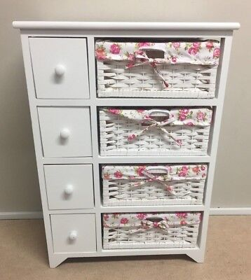 White Wood Floral Chest Drawers Storage Baskets Dressing Cabinet Wicker Girl