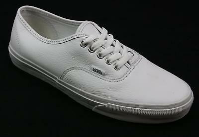 Mens Vans White Leather Classic Casual Fashion Lace Up Pumps Trainers Uk Size 9