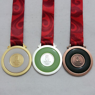 CHINA 2008 Beijing Olympic Medal Set Gold/Silver/Bronze Silk Ribbons
