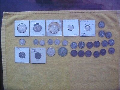 Lot of 30 Silver Coins US Centavos,Silver War Nickles,Canada Silver Dimes,& MORE