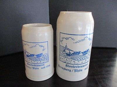 Vintage Klosterbrauerei Germany 1L And 2L Beer Steins Mugs