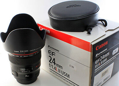 CANON EF 24mm f1.4 L SERIES II USM mark 2 EOS WIDE ANGLE LENS + hood +case boxed