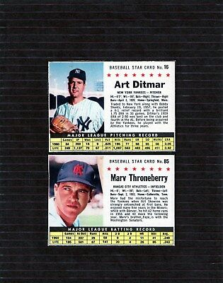 Lot of two 1961 Post Cereal cards Ditmar and Throneberry  NICE SHAPE