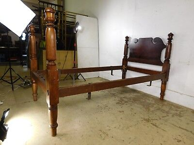 Antique 1860s Victorian Chippendale Country Rope Bed Twin Size