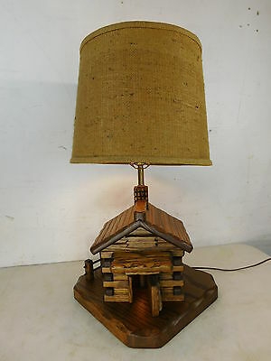 Signed T.L. King Vintage Wood Water Mill Lamp Rohrer's Grist Mill Maryland