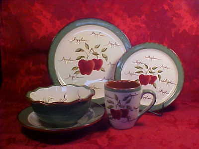 5 Piece Place Setting - Apple Orchard Collections - Home Interior Plates Bowls