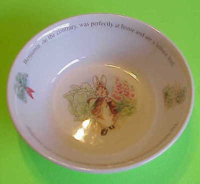 """Peter Rabbit Benjamin Bunny Collection Wedgwood 1999 Made In England 5 3/4"""" Bowl"""