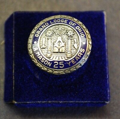 Vintage Grand Lodge of Ohio A Mason 25 Years Sterling Lapel Pin, Screw Back, U.S