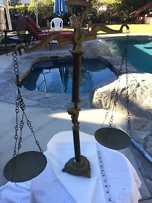 Vintage Ornate Brass Balance Scale With Chains And Pans 23""