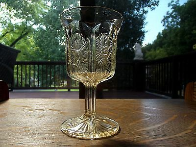 Vintage Wine Water Glass Goblet iridescent Paneled Thistle delta L G Wright